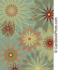 Retro Flower Background - Floral background with...