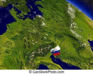 Slovenia with embedded flag on Earth - Flag of Slovenia on...