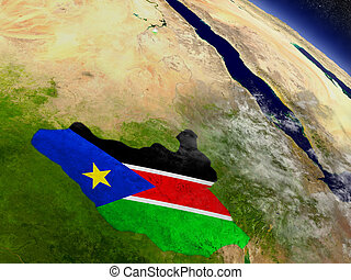 South Sudan with embedded flag on Earth - Flag of South...