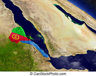 Eritrea with embedded flag on Earth - Flag of Eritrea on...