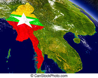 Myanmar with embedded flag on Earth - Flag of Myanmar on...