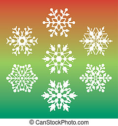 Seven Snowflakes - Seven vector snowflakes on a red and...