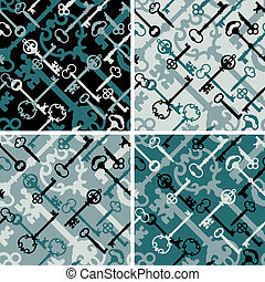 Skeleton Keys Pattern in Black-Blue - A seamless vector...