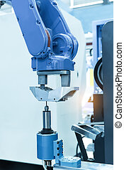 robot drill machine tool at mobile industrial manufacture...