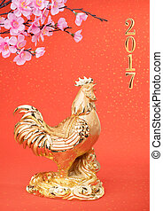 Rooster year,Gold Rooster with plum,Chinese calligraphy...