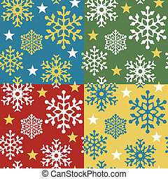 Snowflake Pattern in 4 Colorways - Seamless snowflake...