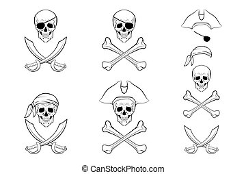Pirate Skull set. Vector design templates. - Pirate Skull...