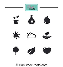 Sprout, leaf icons. Garden and weather signs. - Garden...