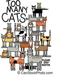 Too Many Cats - Illustration of a large cat family....