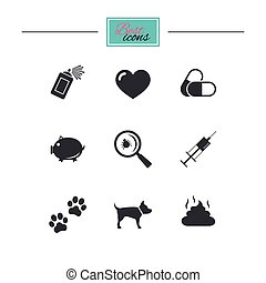 Veterinary, pets icons. Dog paws, syringe signs. -...