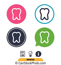 Tooth sign icon. Dental care symbol. Report document,...