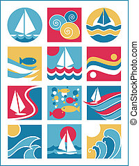 Water Icons Collection 2 - Collection 2 of twelve icons with...
