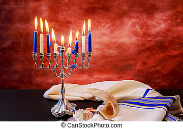 jewish holiday Hanukkah Festive composition for on dark...