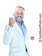 happy confident young african american business male smiling...