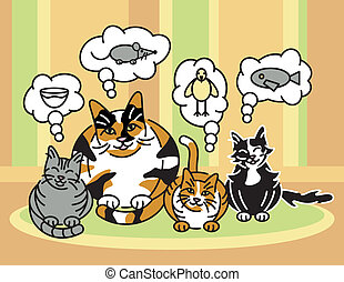 What Cats Think About - A vector illustration of a calico...
