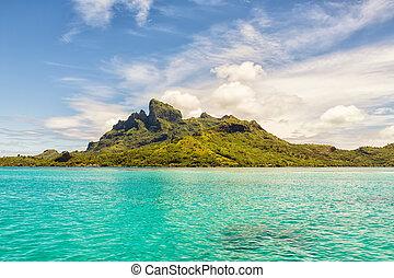 Beautiful view of Otemanu mountain on Bora Bora island,...
