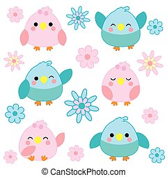 Baby shower illustration with cute blue and pink birds