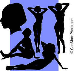 Set of Five Female Silhouettes