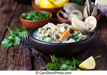 Seafood shellfish ceviche mariscal, typical dish Peru Latin...