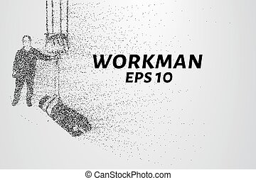Working of the particles. The worker lifts the load on the winch. Vector illustration