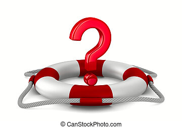 question into lifebuoy on white background. Isolated 3D...