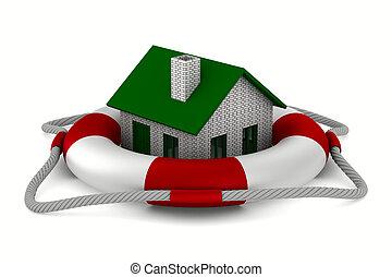 House into lifebuoy on white background. Isolated 3D image
