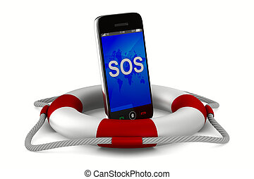 lifebuoy and phone on white background. Isolated 3D image