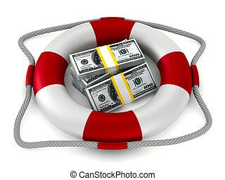 lifebuoy and money on white background. Isolated 3D image