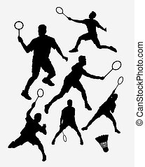 Badminton sport silhouette - Badminton male sport player...