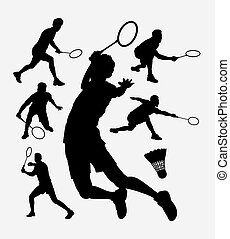 Badminton sport silhouette - Badminton sport tournament male...
