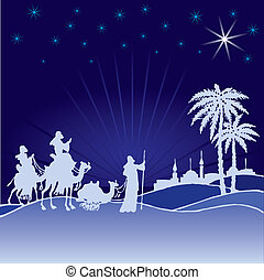 Wisemen. Xmas - Classic three magic scene and shining star...