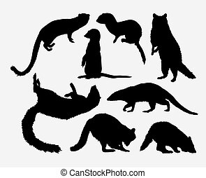 Mongoose and racoon animal silhouette - mongoose and racoon...