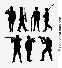 Soldier army ande police silhouette