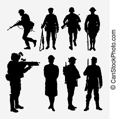 Soldier, army and police silhouette