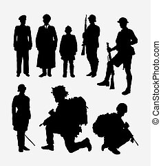Army, soldier, and police silhouette