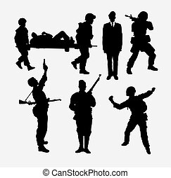 police, army, soldier silhouette
