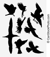Bird flying silhouette - Bird flying poultry animal...