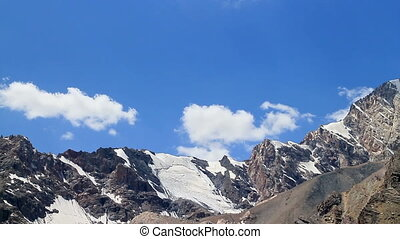 Clouds over the mountains change. Pamir Tazhikistan. Time Lapse