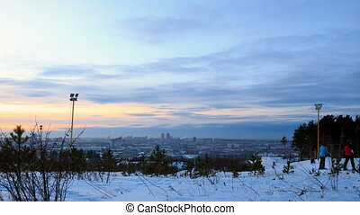 Sunset City. Ekaterinburg. Time Lapse. Camera moves.....