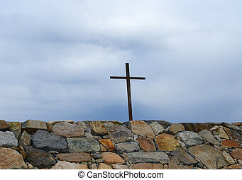 Cross Above Rock Wall in Scituate - Wooden cross at wall in...