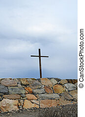 Cross at Cedar Point in Scituate - Wooden cross at Cedar...