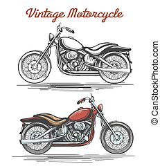 Vintage motorcycle hand-drawn illustration - Vintage...