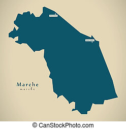 Modern Map - Marche IT Italy