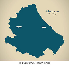 Modern Map - Abruzzo IT Italy