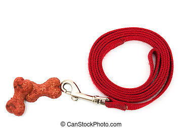 Dog Leash - A red dog leash isolated on a white background,...
