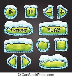 Winter green buttons with snow