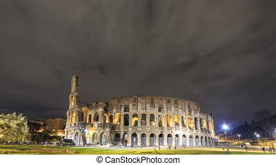 View of the Colosseum. Night. Rome, Italy. Time Lapse