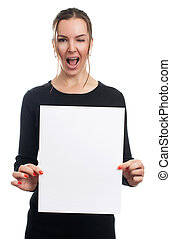 Smiling woman holding white sign board