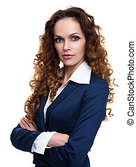 beautiful woman with long wavy hair. Girl with curly...