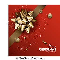 Elegant Merry Christmas or Happy New Year background with...